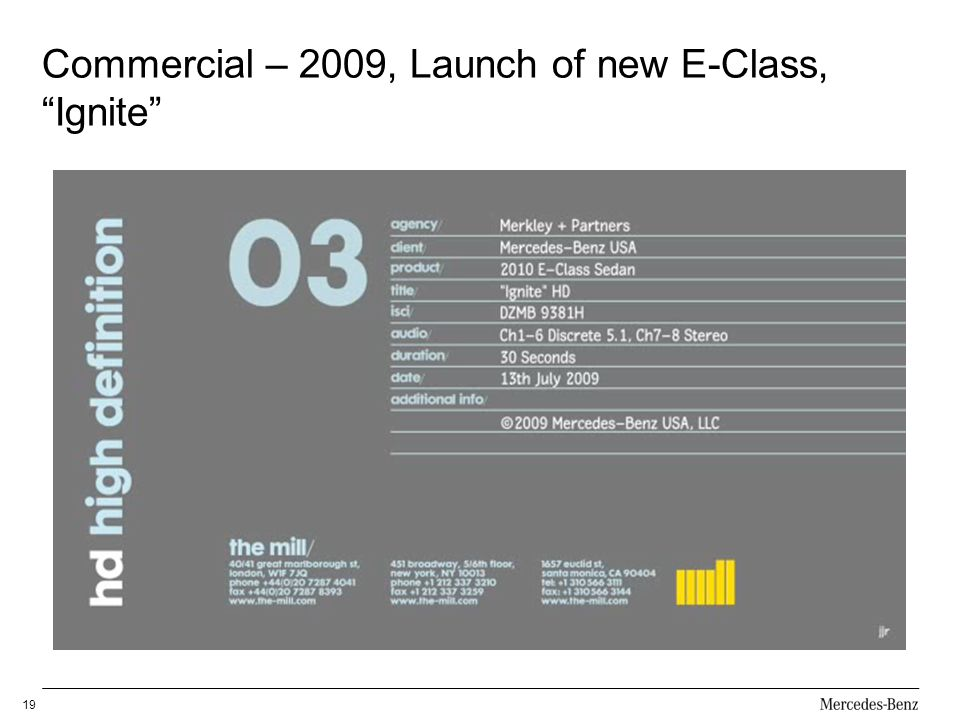 Commercial – 2009, Launch of new E-Class, Ignite 19