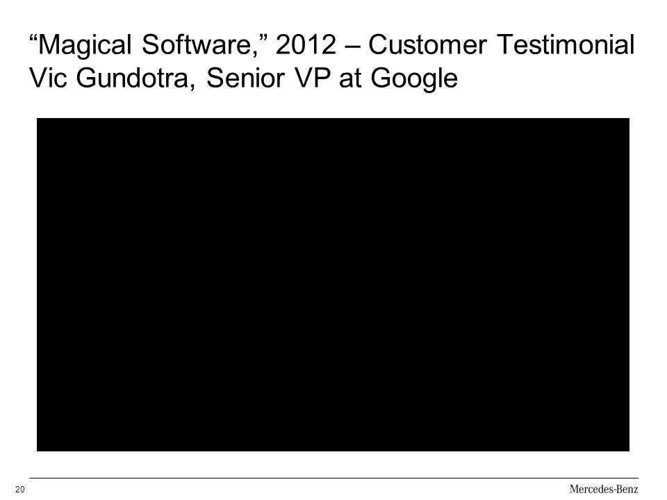 Magical Software, 2012 – Customer Testimonial Vic Gundotra, Senior VP at Google 20