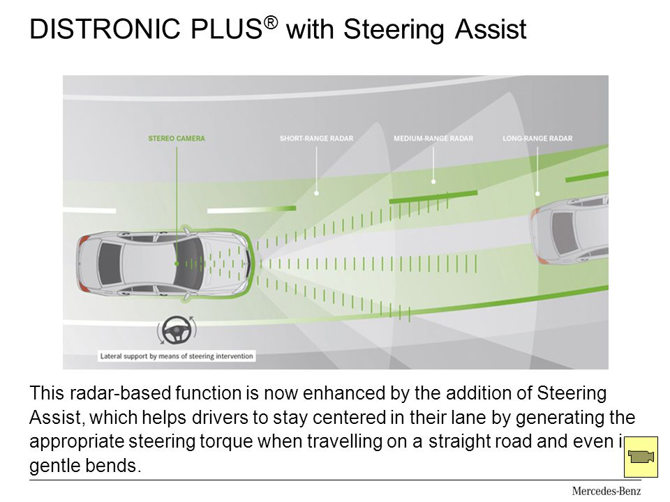 DISTRONIC PLUS ® with Steering Assist This radar-based function is now enhanced by the addition of Steering Assist, which helps drivers to stay center