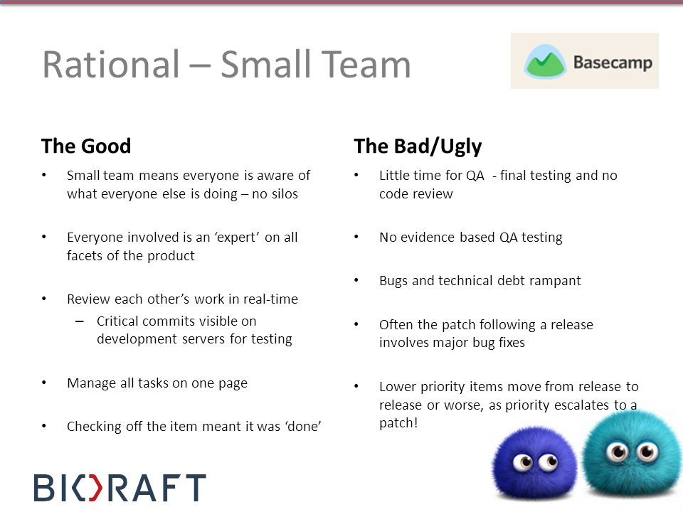 Rational – Small Team The Good Small team means everyone is aware of what everyone else is doing – no silos Everyone involved is an expert on all face