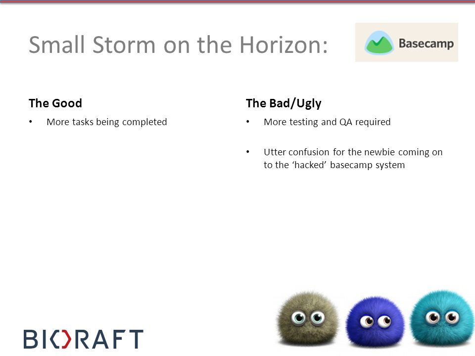 Small Storm on the Horizon: The Good More tasks being completed The Bad/Ugly More testing and QA required Utter confusion for the newbie coming on to the hacked basecamp system