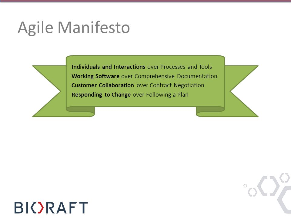 Agile Manifesto Individuals and Interactions over Processes and Tools Working Software over Comprehensive Documentation Customer Collaboration over Co