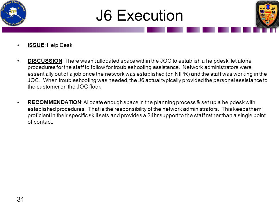 J6 Execution ISSUE: Help Desk DISCUSSION: There wasnt allocated space within the JOC to establish a helpdesk, let alone procedures for the staff to fo