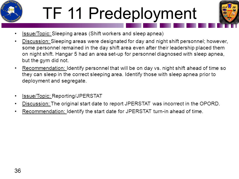 TF 11 Predeployment Issue/Topic: Sleeping areas (Shift workers and sleep apnea) Discussion: Sleeping areas were designated for day and night shift per