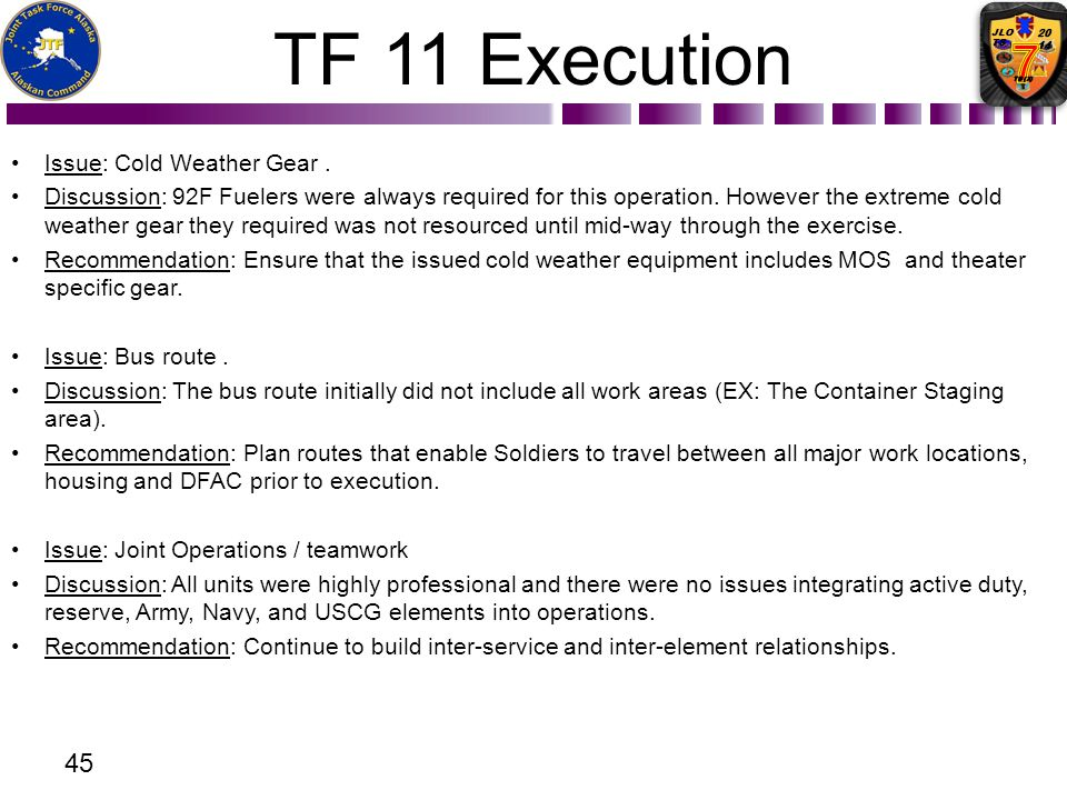 TF 11 Execution Issue: Cold Weather Gear. Discussion: 92F Fuelers were always required for this operation. However the extreme cold weather gear they