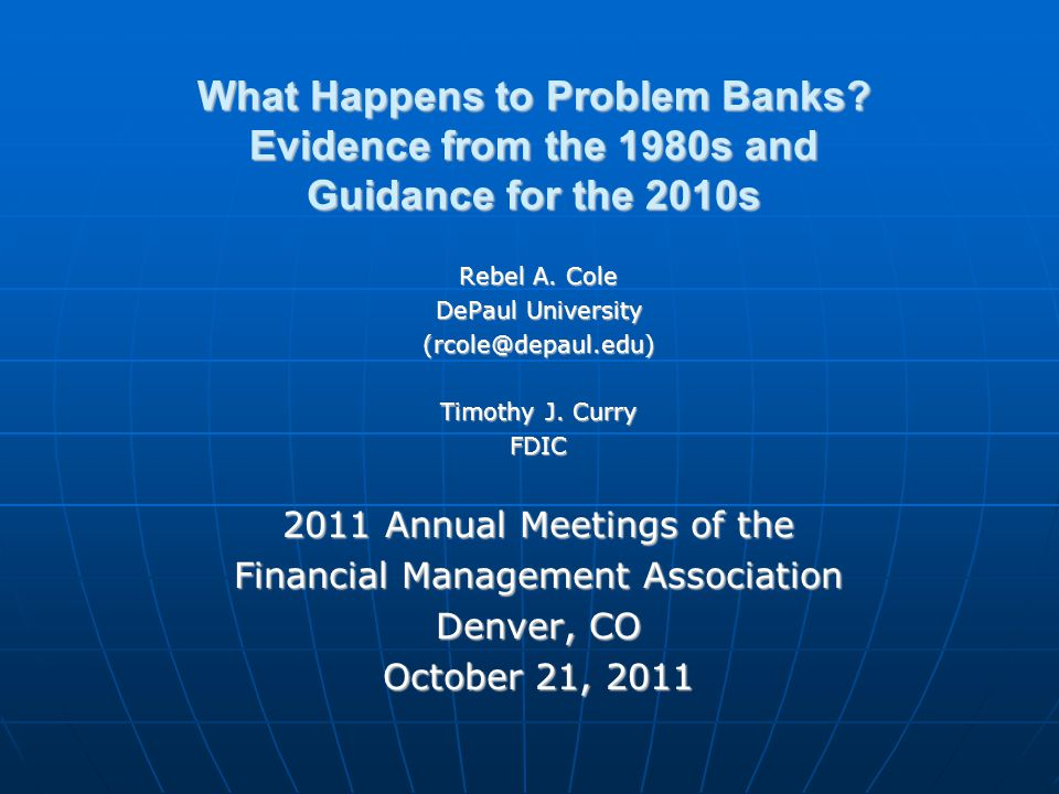 What Happens to Problem Banks. Evidence from the 1980s and Guidance for the 2010s Rebel A.