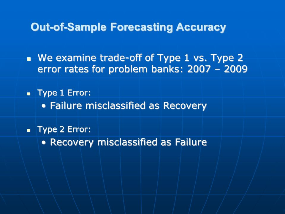 Out-of-Sample Forecasting Accuracy We examine trade-off of Type 1 vs.