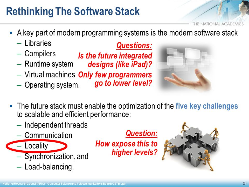 Rethinking The Software Stack A key part of modern programming systems is the modern software stack – Libraries – Compilers – Runtime system – Virtual