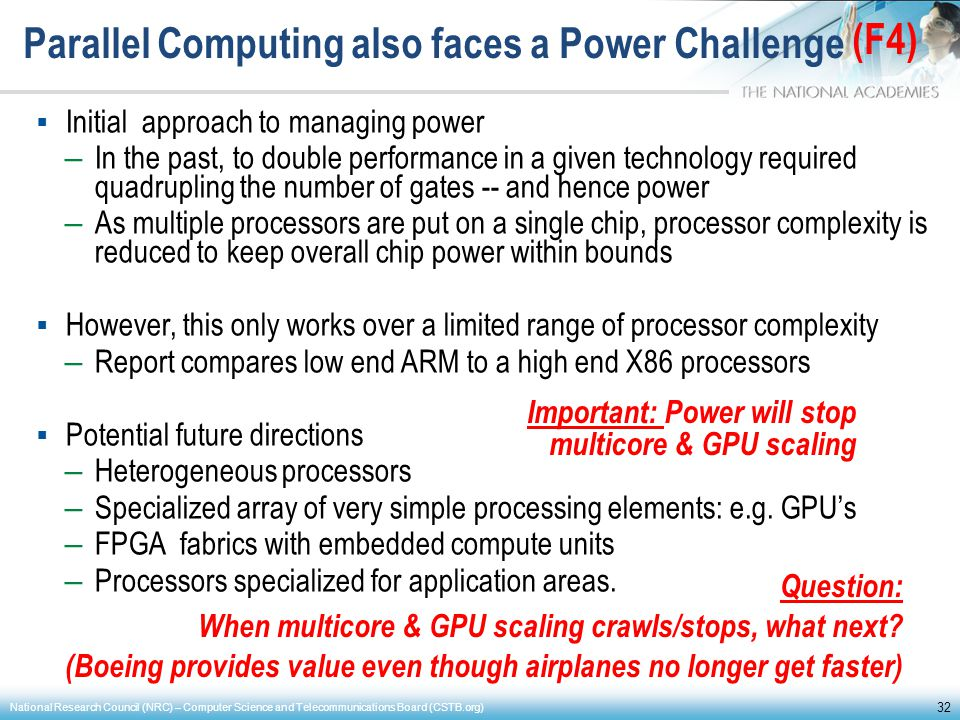 Parallel Computing also faces a Power Challenge Initial approach to managing power – In the past, to double performance in a given technology required
