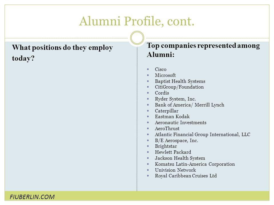 Alumni Profile, cont.