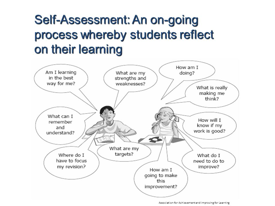Self-Assessment: An on-going process whereby students reflect on their learning Association for Achievement and Improving for Learning