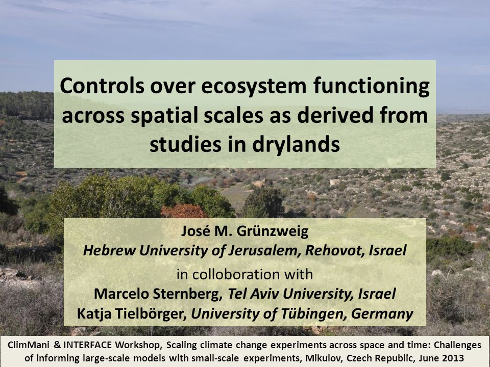 Controls over ecosystem functioning across spatial scales as derived from studies in drylands José M.