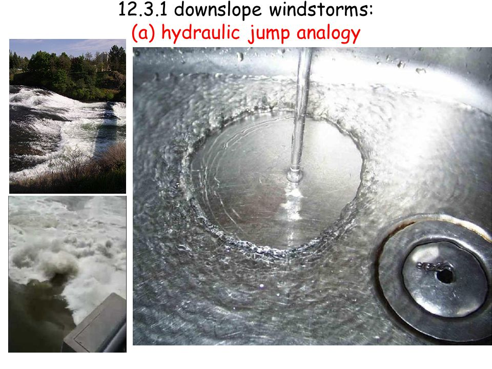 12.3.1 downslope windstorms: (a) hydraulic jump analogy