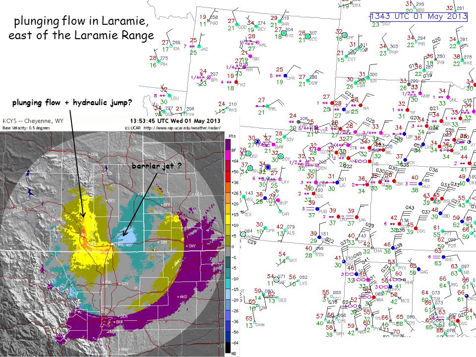plunging flow in Laramie, east of the Laramie Range plunging flow + hydraulic jump? barrier jet ?
