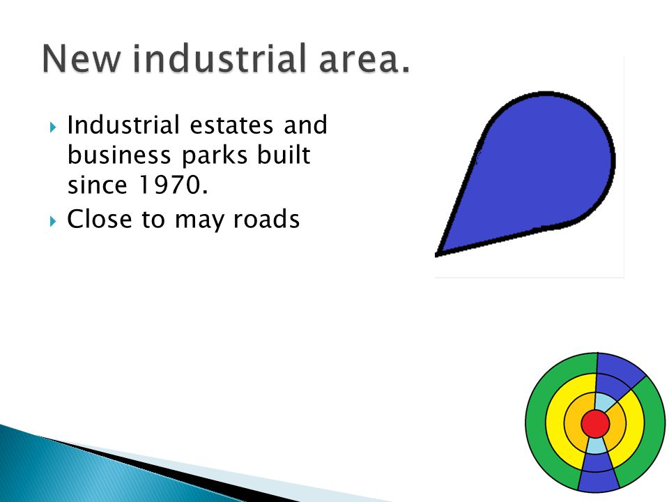 Industrial estates and business parks built since 1970. Close to may roads