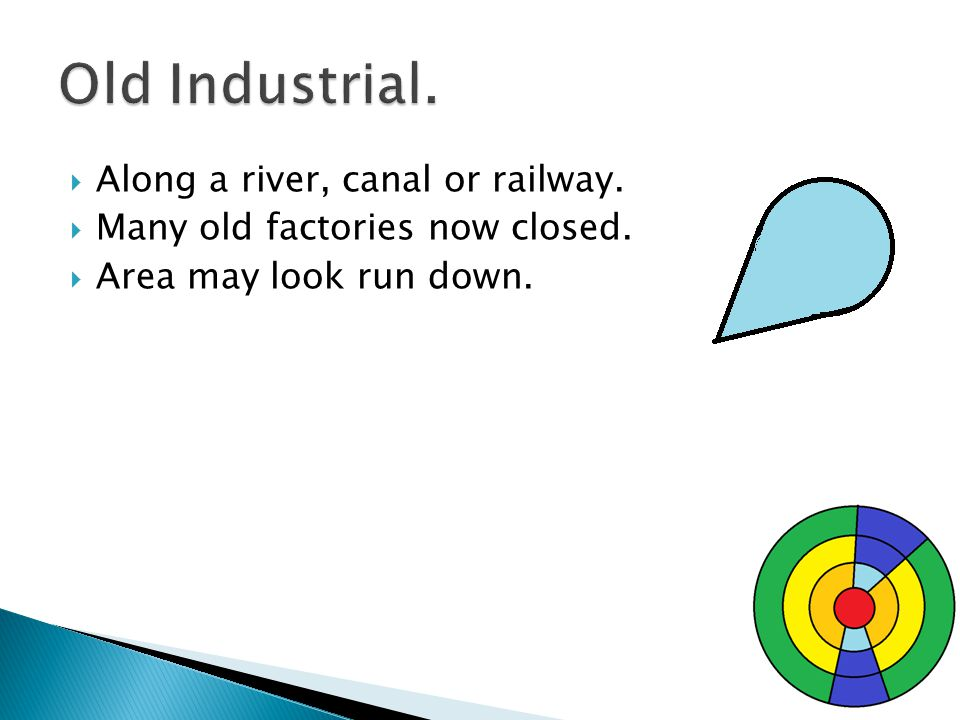 Along a river, canal or railway. Many old factories now closed. Area may look run down.