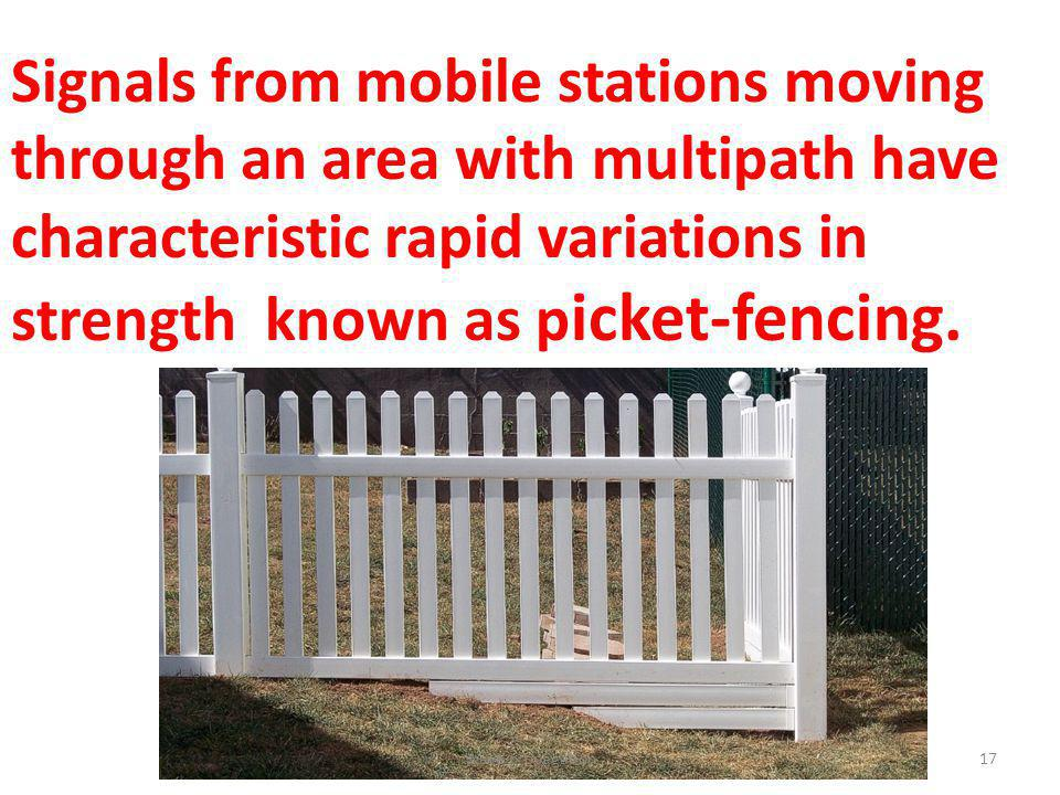 Signals from mobile stations moving through an area with multipath have characteristic rapid variations in strength known as p icket-fencing. 17Wave p