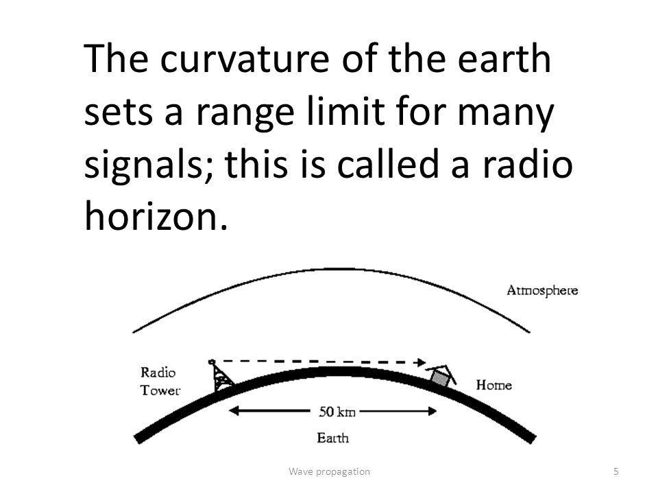 The distance over which a transmission can be received is called range. The curvature of the earth sets a range limit for The distance over which a tr