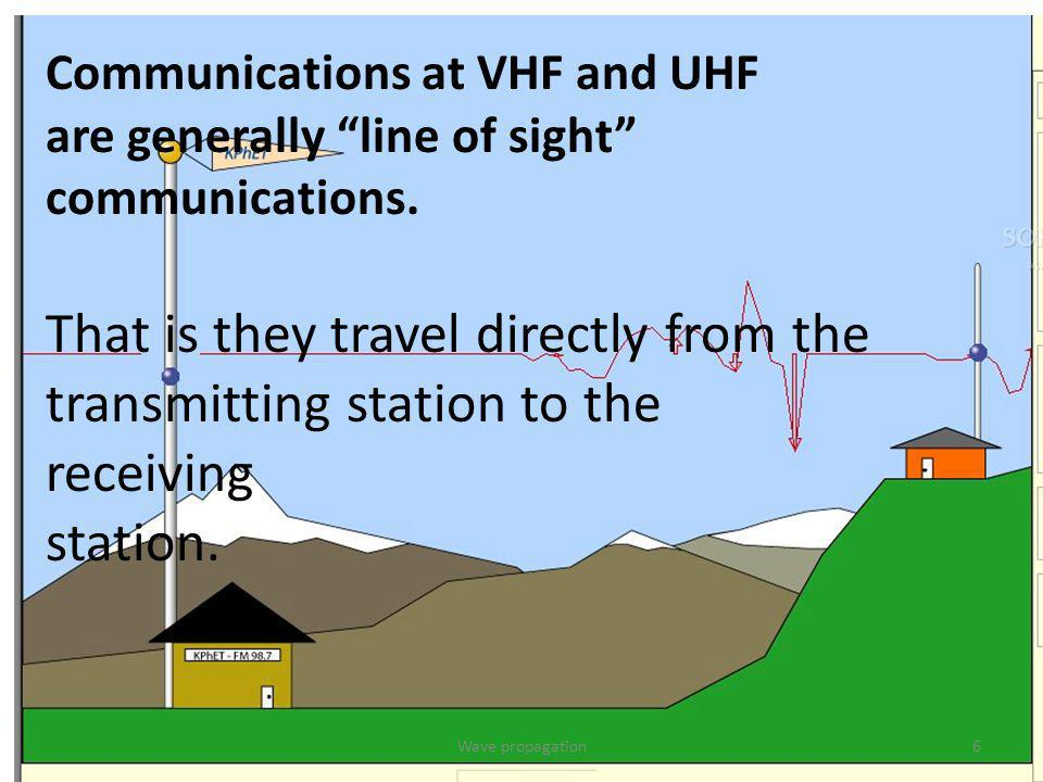 Communications at VHF and UHF are generally line of sight communications. That is they travel directly from the transmitting station to the receiving