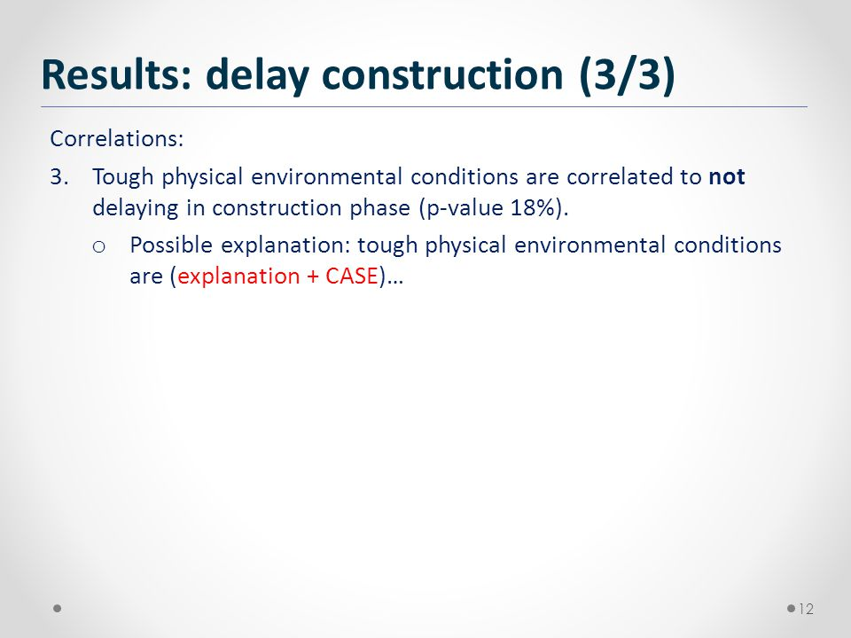 Correlations: 3.Tough physical environmental conditions are correlated to not delaying in construction phase (p-value 18%).