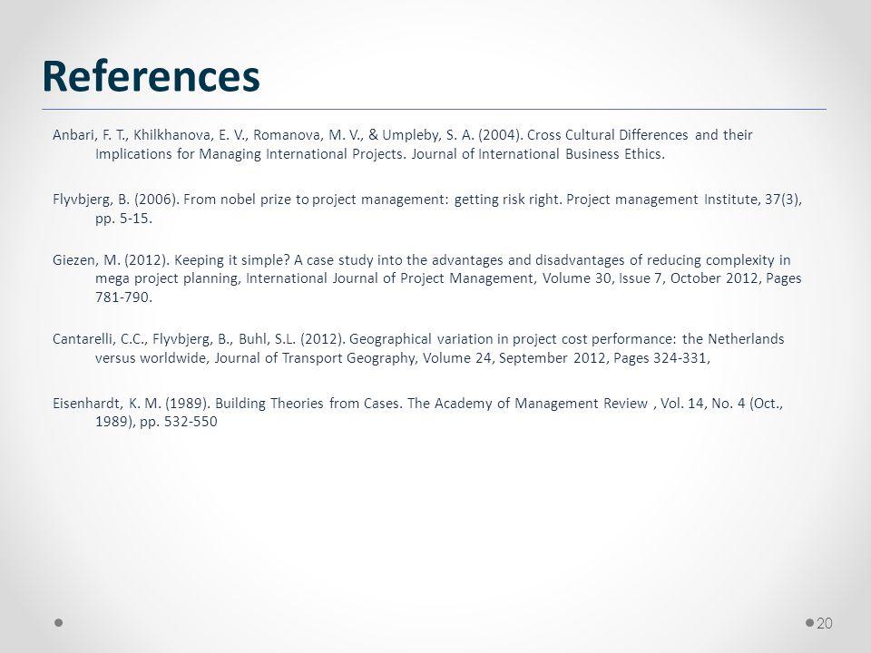 20 References Anbari, F. T., Khilkhanova, E. V., Romanova, M. V., & Umpleby, S. A. (2004). Cross Cultural Differences and their Implications for Manag