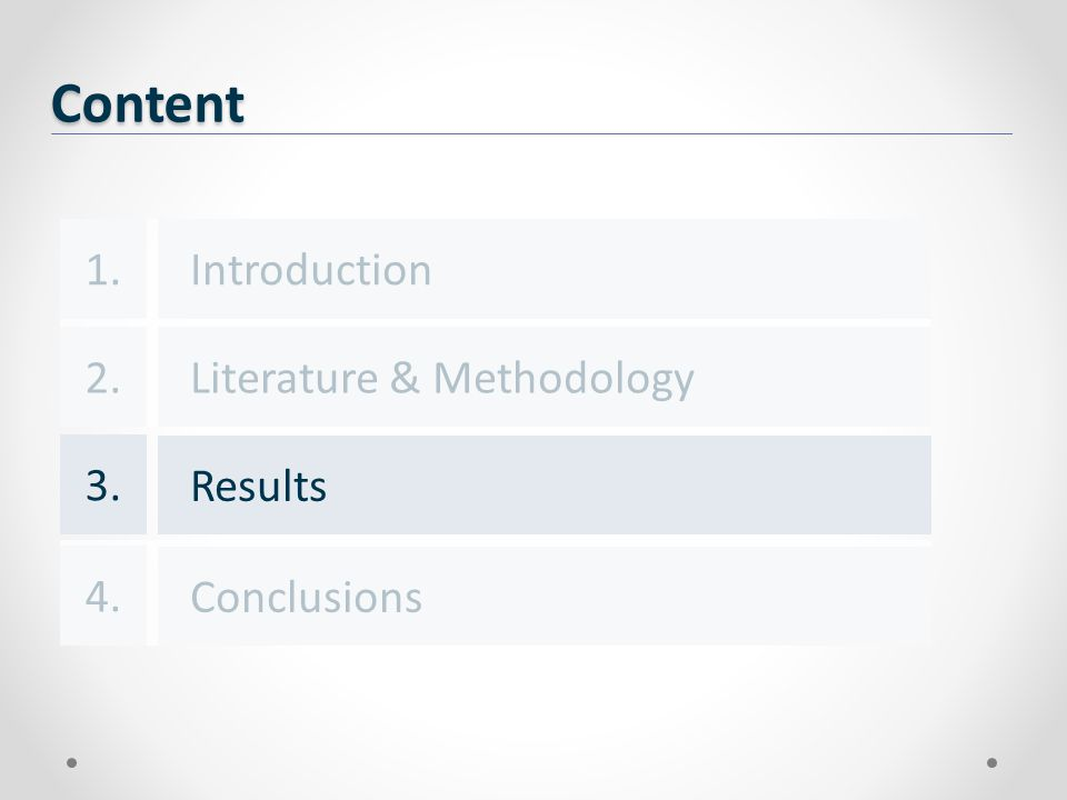 Content Introduction Results Conclusions 1. 3. 4. Literature & Methodology2.