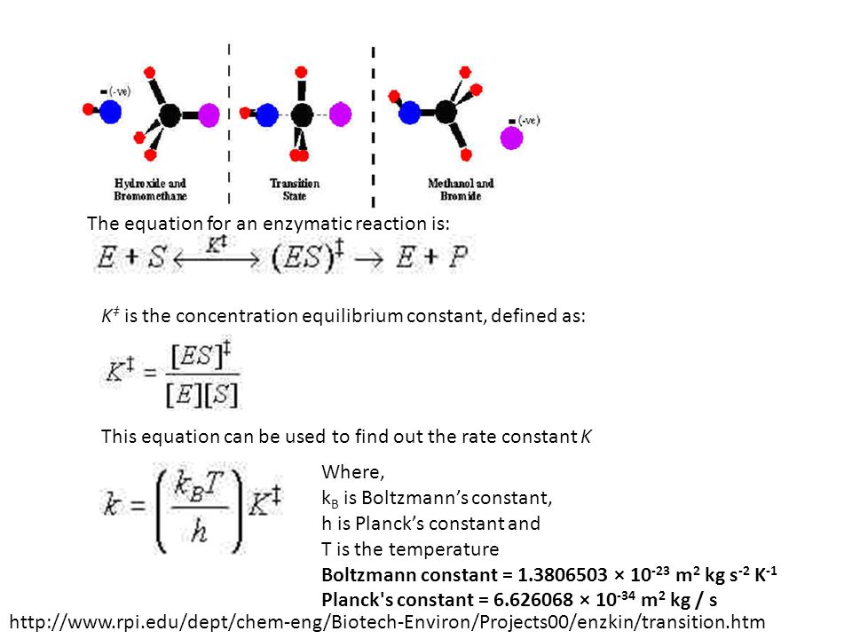K is the concentration equilibrium constant, defined as: The equation for an enzymatic reaction is: Where, k B is Boltzmanns constant, h is Plancks co