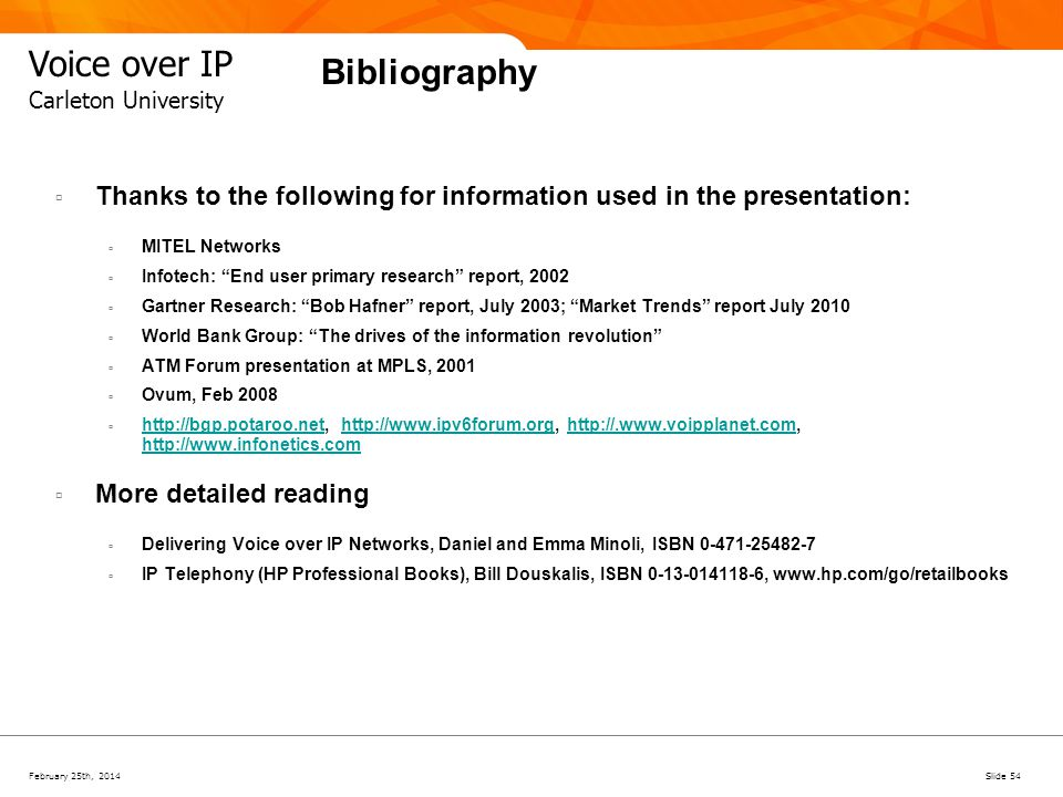 February 25th, 2014Slide 54 Voice over IP Carleton University Bibliography Thanks to the following for information used in the presentation: MITEL Net
