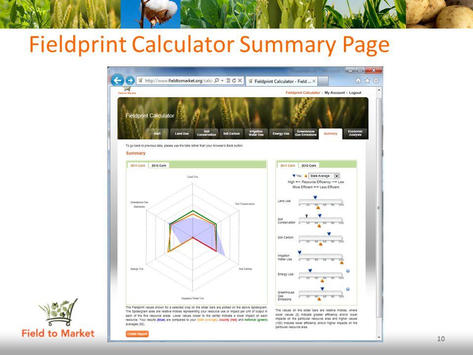 Fieldprint Calculator Summary Page 10