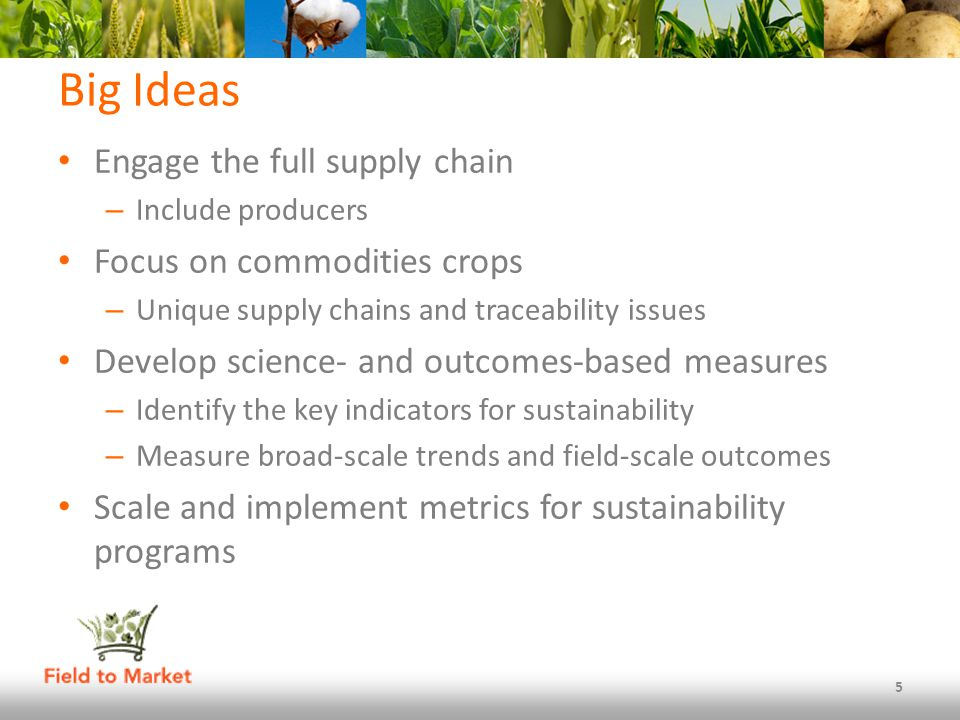 Big Ideas Engage the full supply chain – Include producers Focus on commodities crops – Unique supply chains and traceability issues Develop science- and outcomes-based measures – Identify the key indicators for sustainability – Measure broad-scale trends and field-scale outcomes Scale and implement metrics for sustainability programs 5