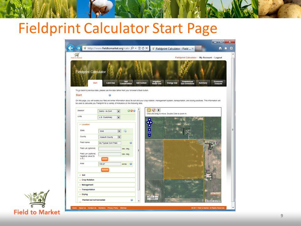 Fieldprint Calculator Start Page 9