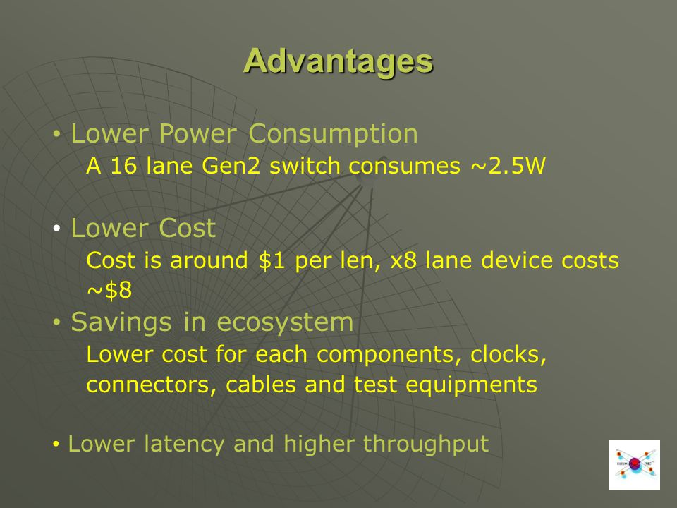 Advantages Lower Power Consumption A 16 lane Gen2 switch consumes ~2.5W Lower Cost Cost is around $1 per len, x8 lane device costs ~$8 Savings in ecos