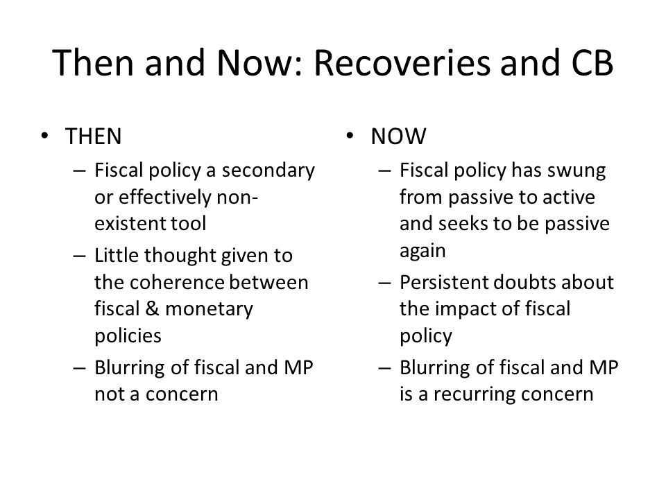 Then and Now: Recoveries and CB THEN – Fiscal policy a secondary or effectively non- existent tool – Little thought given to the coherence between fiscal & monetary policies – Blurring of fiscal and MP not a concern NOW – Fiscal policy has swung from passive to active and seeks to be passive again – Persistent doubts about the impact of fiscal policy – Blurring of fiscal and MP is a recurring concern