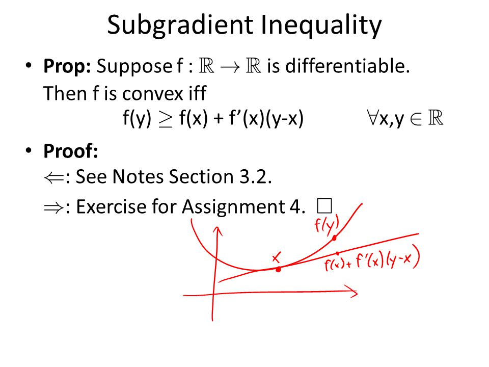 Subgradient Inequality Prop: Suppose f : R . R is differentiable.