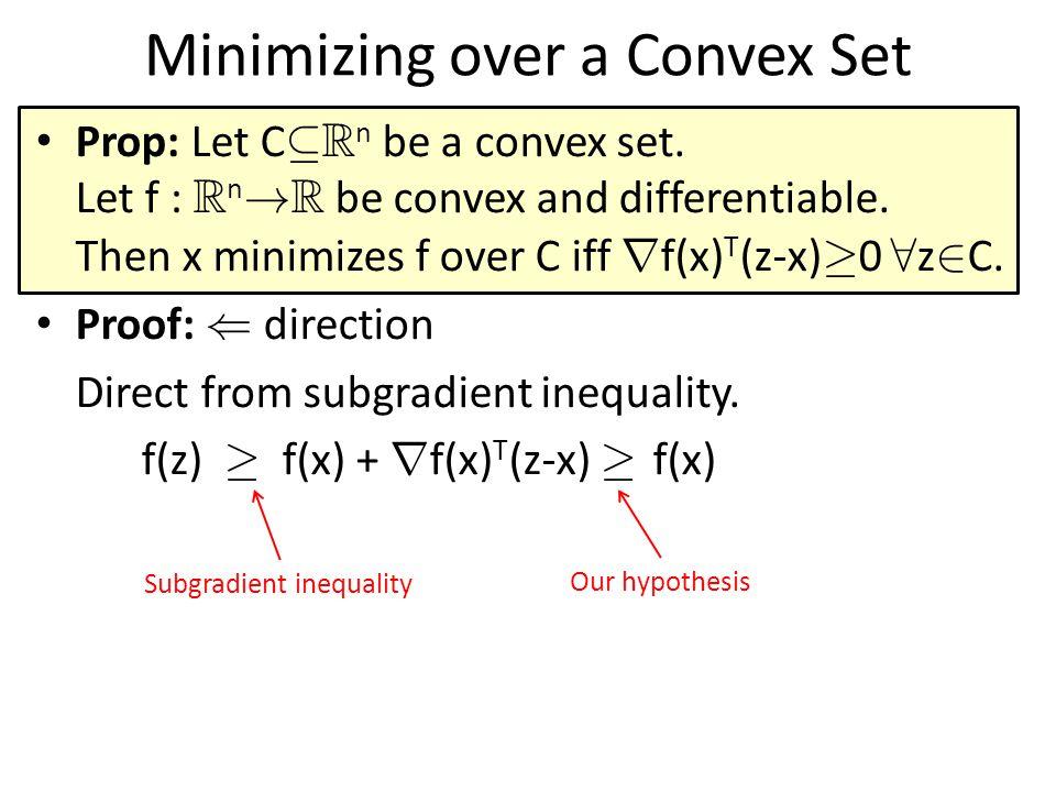 Minimizing over a Convex Set Prop: Let C µ R n be a convex set.