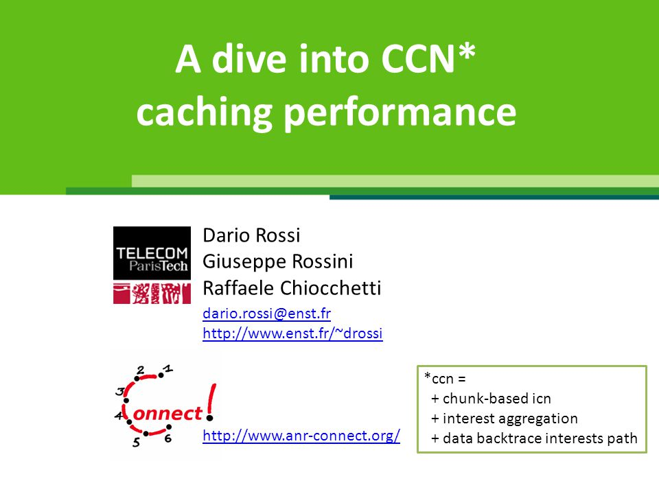 Agenda (Perils of) Naïve multi-path Parameter space exploration The catalog issue Advertisement Simulator Publications http://www.telecom-paristech.fr/~drossi/ccnSim/ Main message of the dive: Better hit the right spot!