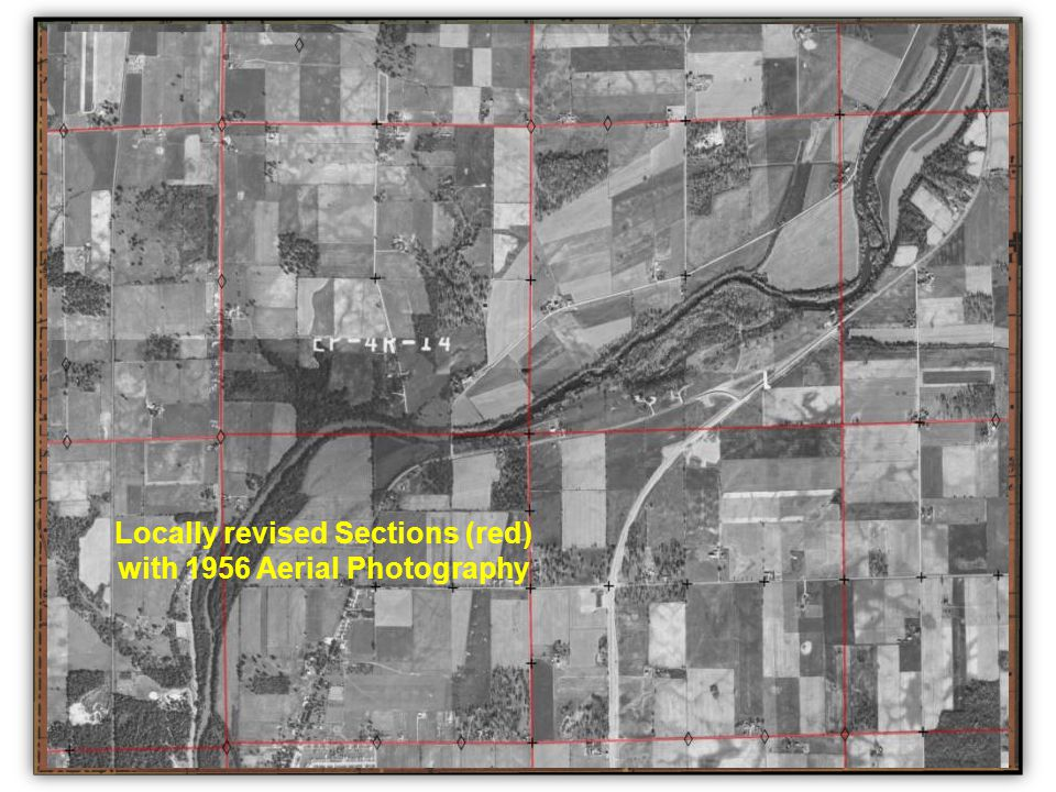 Locally revised Sections (red) with 1956 Aerial Photography