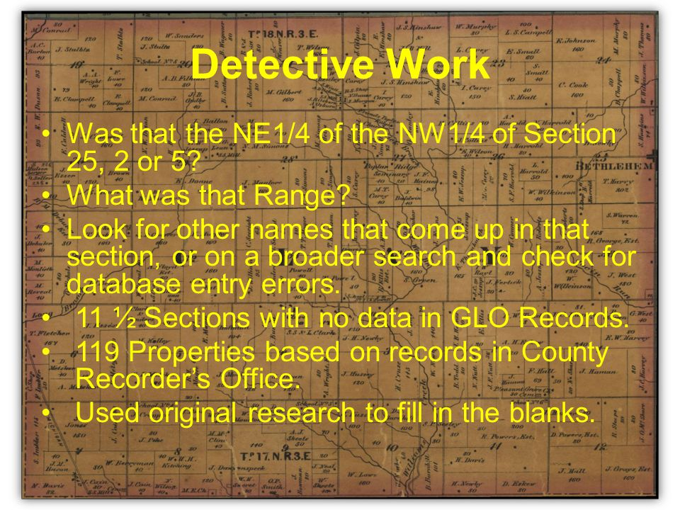 Detective Work Was that the NE1/4 of the NW1/4 of Section 25, 2 or 5.