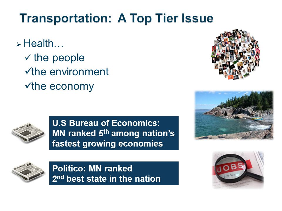 Health… the people the environment the economy U.S Bureau of Economics: MN ranked 5 th among nations fastest growing economies Politico: MN ranked 2 nd best state in the nation