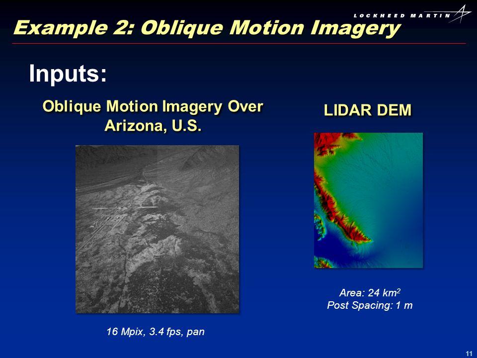 11 Example 2: Oblique Motion Imagery Inputs: Oblique Motion Imagery Over Arizona, U.S. 16 Mpix, 3.4 fps, pan LIDAR DEM Area: 24 km 2 Post Spacing: 1 m