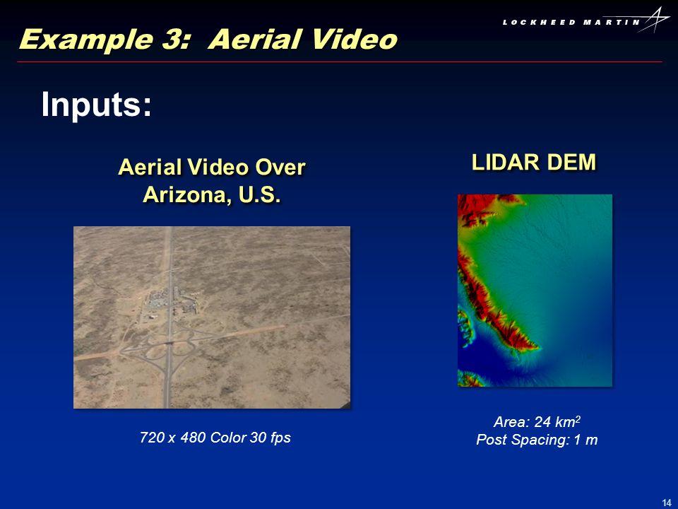 14 Example 3: Aerial Video Inputs: Aerial Video Over Arizona, U.S. 720 x 480 Color 30 fps LIDAR DEM Area: 24 km 2 Post Spacing: 1 m