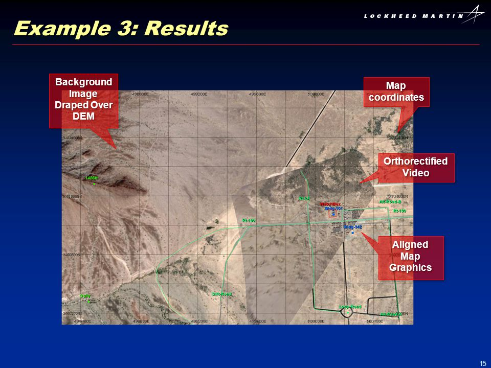 15 Example 3: Results Map coordinates Orthorectified Video Background Image Draped Over DEM Aligned Map Graphics