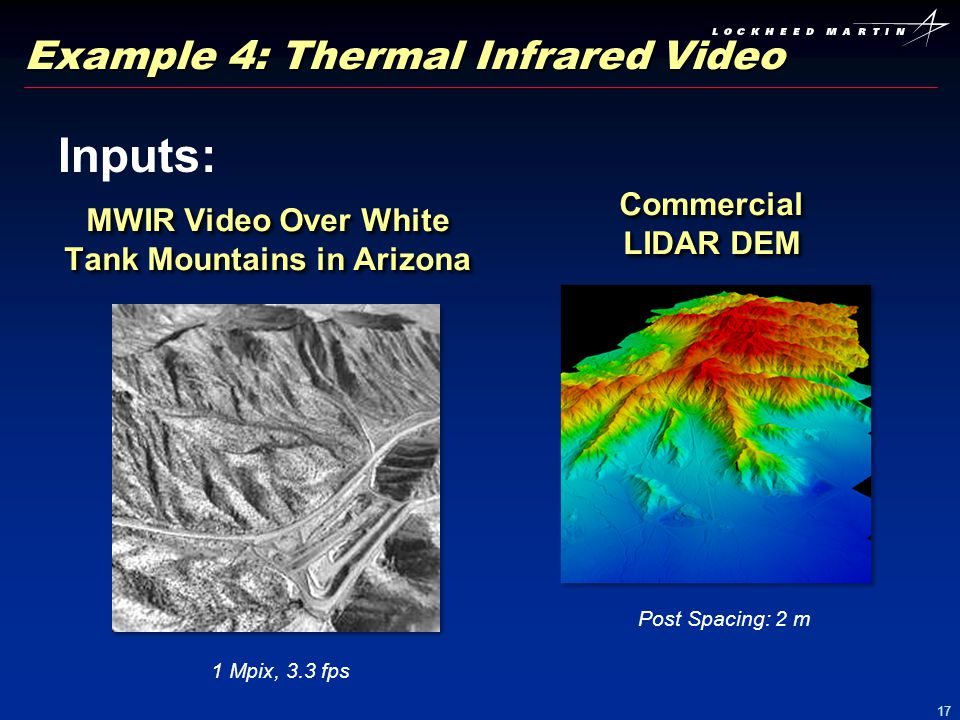 17 Example 4: Thermal Infrared Video Inputs: MWIR Video Over White Tank Mountains in Arizona 1 Mpix, 3.3 fps Commercial LIDAR DEM Post Spacing: 2 m