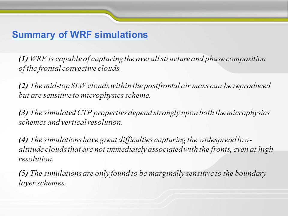 Summary of WRF simulations (1) WRF is capable of capturing the overall structure and phase composition of the frontal convective clouds. (2) The mid-t