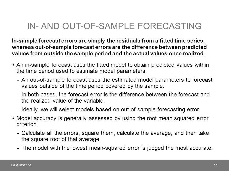 IN- AND OUT-OF-SAMPLE FORECASTING In-sample forecast errors are simply the residuals from a fitted time series, whereas out-of-sample forecast errors