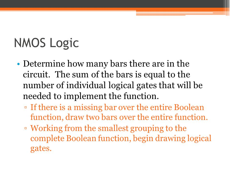 NMOS Logic Determine how many bars there are in the circuit.