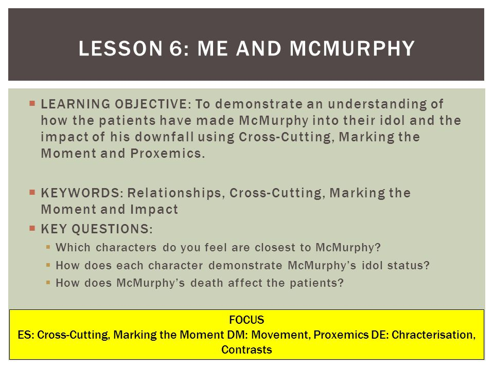 LEARNING OBJECTIVE: To demonstrate an understanding of how the patients have made McMurphy into their idol and the impact of his downfall using Cross-Cutting, Marking the Moment and Proxemics.