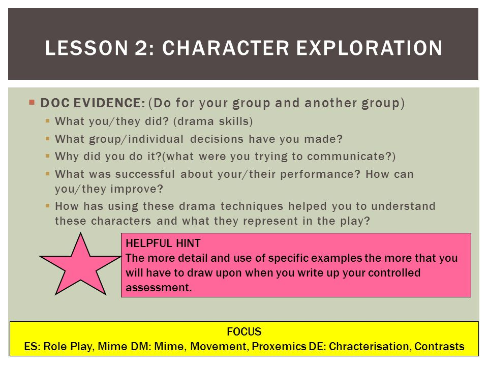 LESSON 2: CHARACTER EXPLORATION DOC EVIDENCE: (Do for your group and another group) What you/they did.
