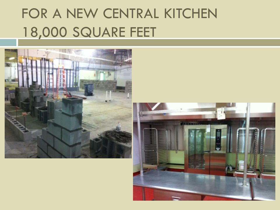 FOR A NEW CENTRAL KITCHEN 18,000 SQUARE FEET