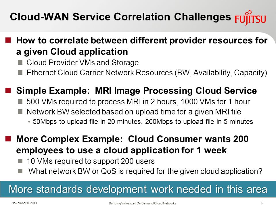 November 8, 2011 Cloud-WAN Service Correlation Challenges How to correlate between different provider resources for a given Cloud application Cloud Pr